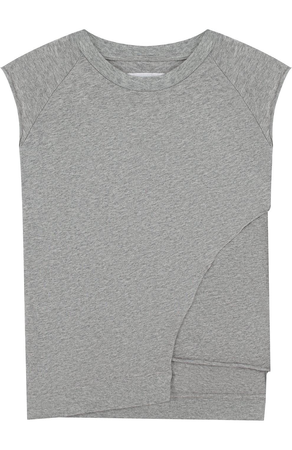 Детская хлопковая футболка асимметричного кроя NUNUNU серого цвета, арт. NU1713A | Фото 1