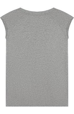 Детская хлопковая футболка асимметричного кроя NUNUNU серого цвета, арт. NU1713A | Фото 2