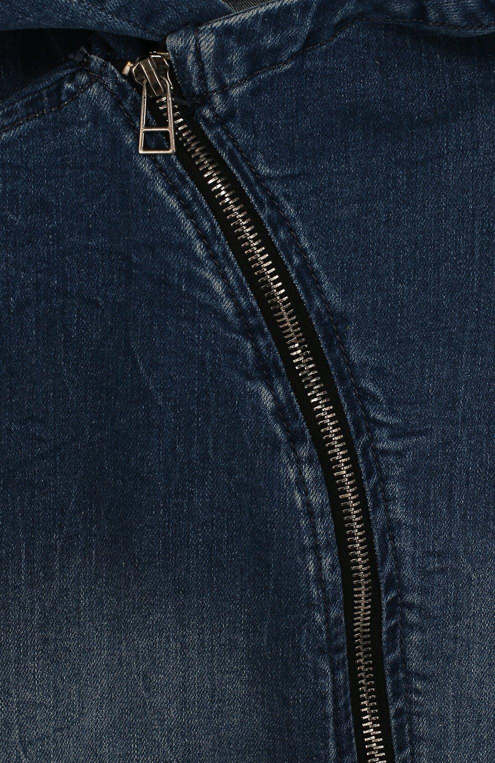 Джинсовый жилет с косой молнией и капюшоном | Фото №3