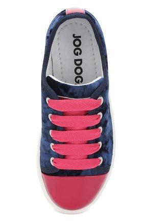 Детские текстильные кеды с лаковым мысом на шнуровке JOG DOG синего цвета, арт. BUT08R/PATENTCHENILLE/31-35 | Фото 4