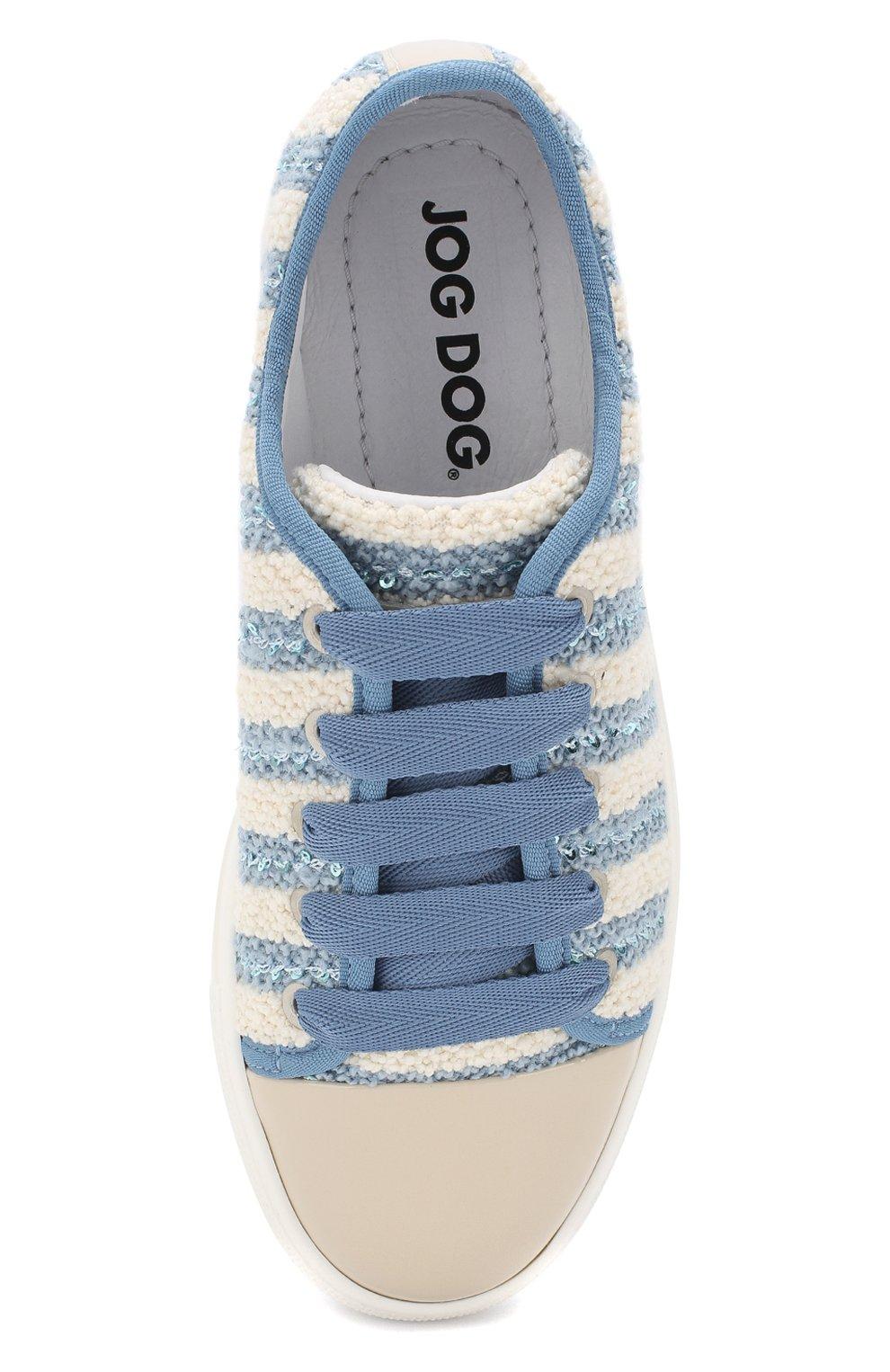 Детские текстильные кеды с лаковым мысом на шнуровке JOG DOG голубого цвета, арт. BUT22R/PATENTARMEN0/36-40 | Фото 4