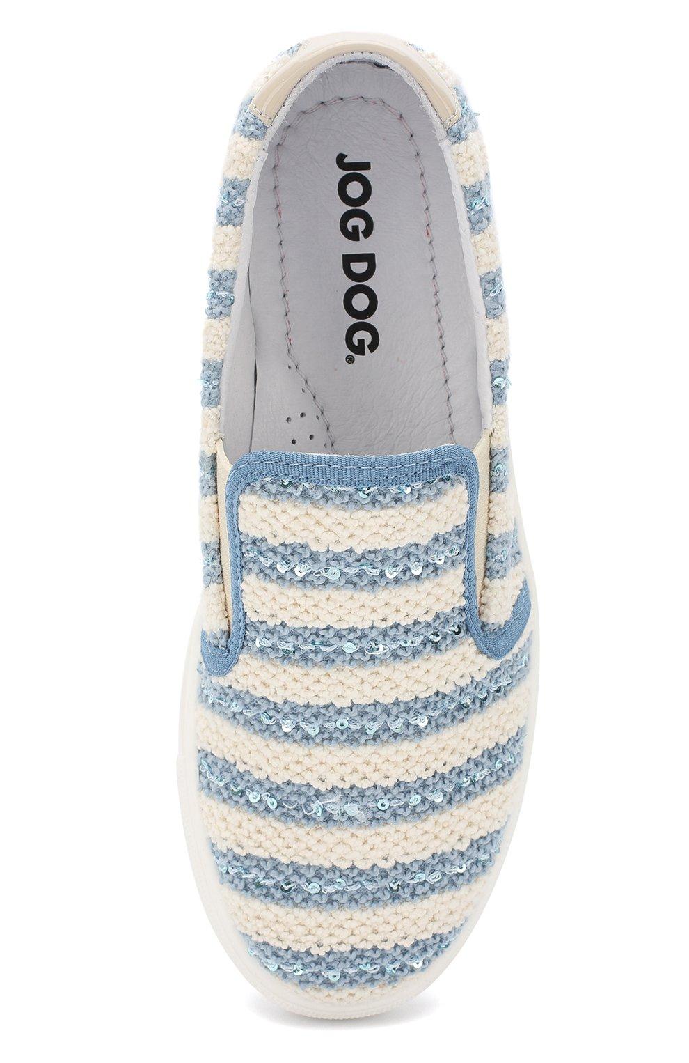 Детские текстильные слипоны с отделкой пайетками JOG DOG голубого цвета, арт. BUT23R/ARMEN0PATENT/36-40 | Фото 4