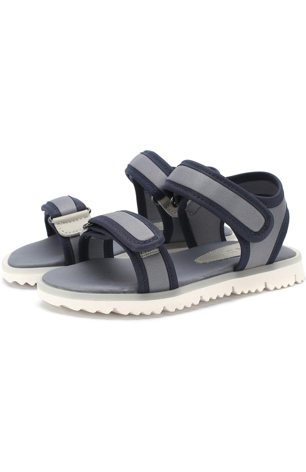 Детские текстильные сандалии с застежками велькро JOG DOG серого цвета, арт. LISB0NA 03R/LYCRA/30-35 | Фото 1