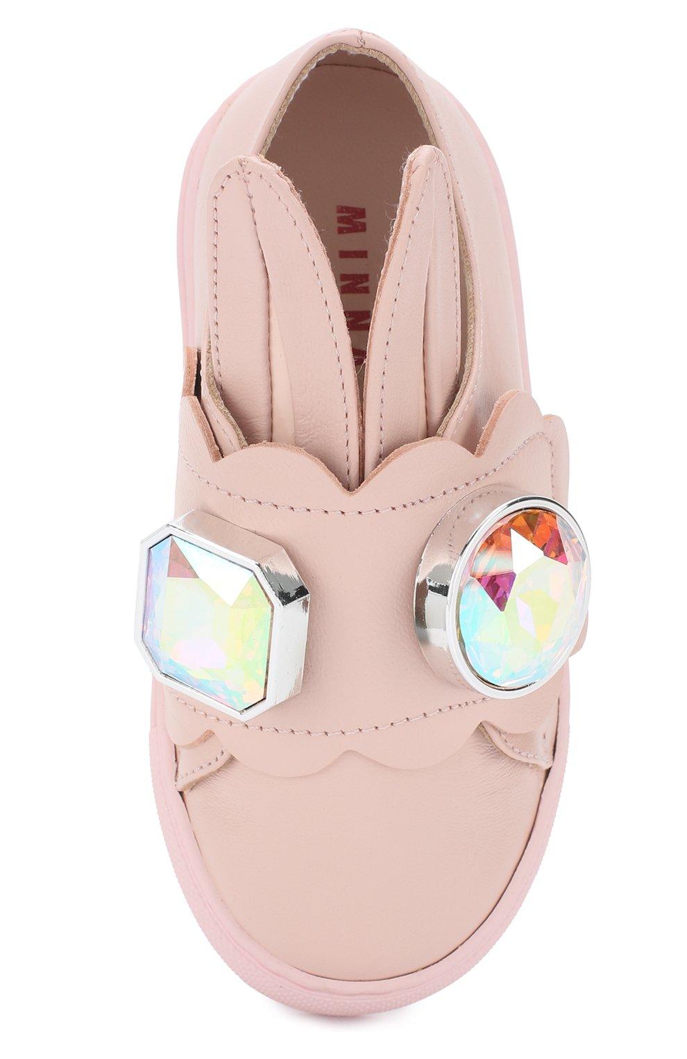 Детские кожаные кеды с застежками велькро и фигурным декором MINNA PARIKKA MINI розового цвета, арт. GEMMINI16   Фото 4