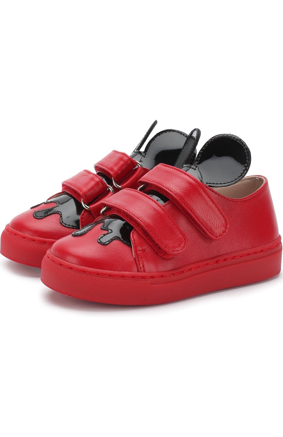 Детские кожаные кеды с застежками велькро и фигурным декором MINNA PARIKKA MINI красного цвета, арт. JERRYMINI3 | Фото 1