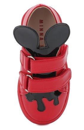 Детские кожаные кеды с застежками велькро и фигурным декором MINNA PARIKKA MINI красного цвета, арт. JERRYMINI3 | Фото 4