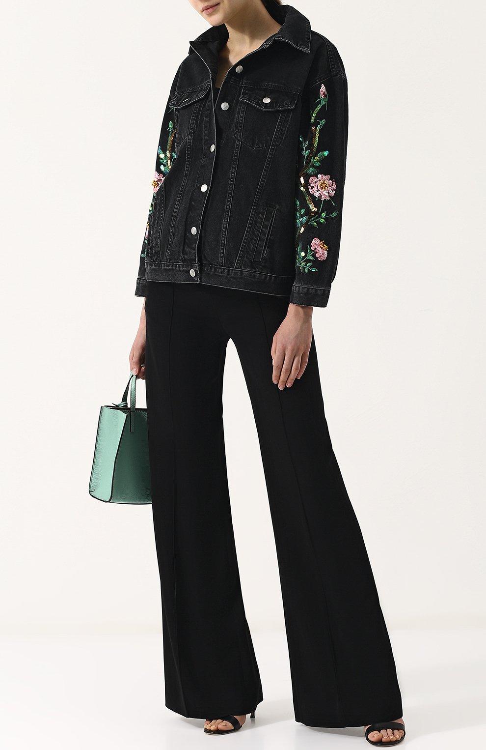 Джинсовая куртка свободного кроя с пайетками   Фото №2
