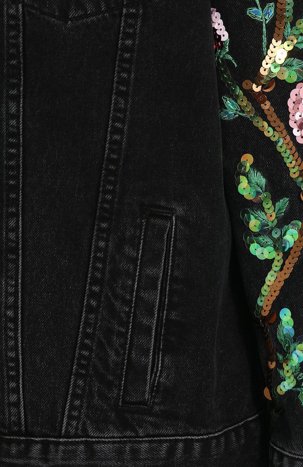 Джинсовая куртка свободного кроя с пайетками   Фото №5