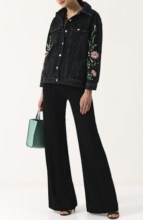 Джинсовая куртка свободного кроя с пайетками Dalood черная   Фото №1