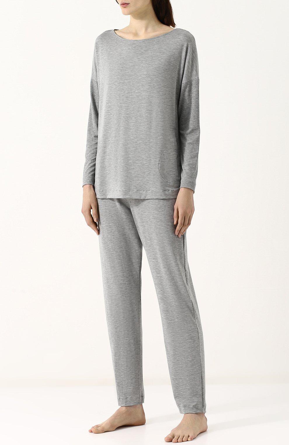 Женская пижама из вискозы HANRO серого цвета, арт. 076390 | Фото 1