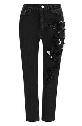 Женские джинсы прямого кроя с пайетками DALOOD черного цвета, арт. BD0179D17/BLACK | Фото 1