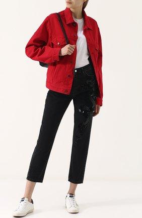 Женские джинсы прямого кроя с пайетками DALOOD черного цвета, арт. BD0179D17/BLACK | Фото 2