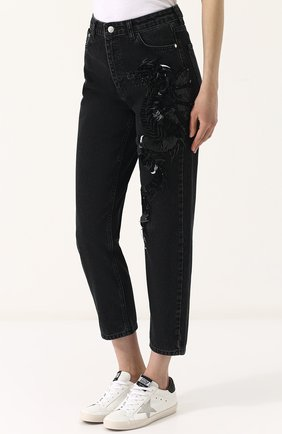 Женские джинсы прямого кроя с пайетками DALOOD черного цвета, арт. BD0179D17/BLACK | Фото 3
