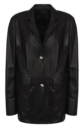 Однотонный кожаный жакет DROMe черный | Фото №1