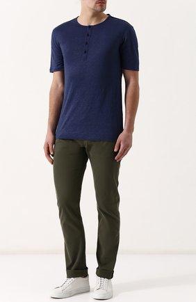 Мужские хлопковые брюки ERMENEGILDO ZEGNA оливкового цвета, арт. UPI71/JS01   Фото 2