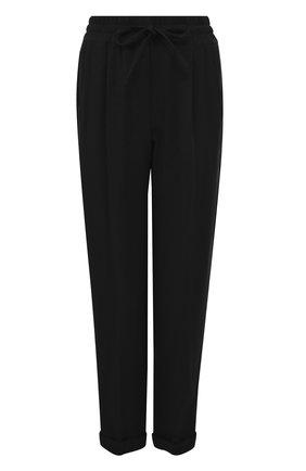 Укороченные однотонные брюки с карманами | Фото №1