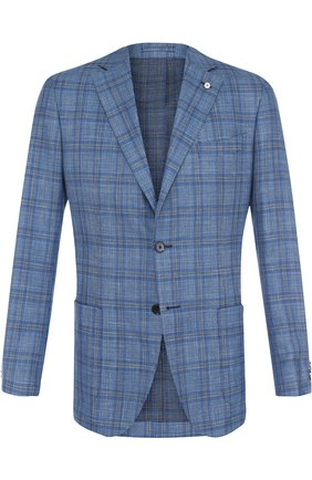 Однобортный пиджак из смеси шерсти и шелка со льном L.B.M. 1911 голубой | Фото №1