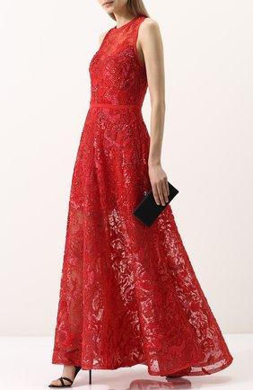 Приталенное кружевное платье-макси Elie Saab красное | Фото №1