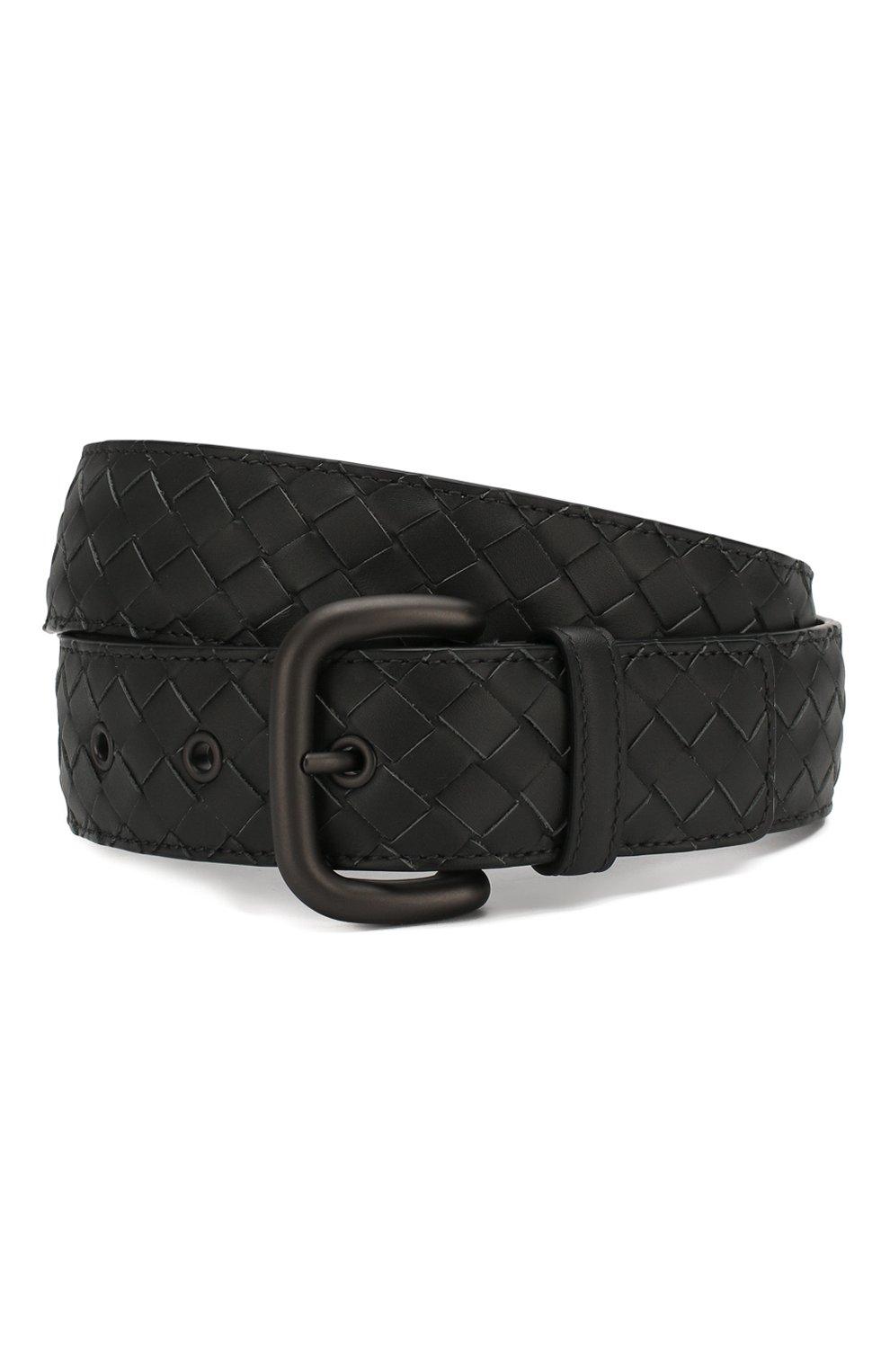 Мужской кожаный ремень BOTTEGA VENETA темно-серого цвета, арт. 173784/V4650 | Фото 1