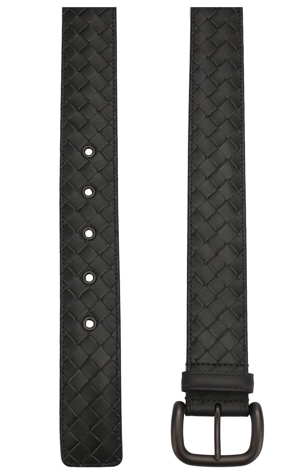 Мужской кожаный ремень BOTTEGA VENETA темно-серого цвета, арт. 173784/V4650 | Фото 2