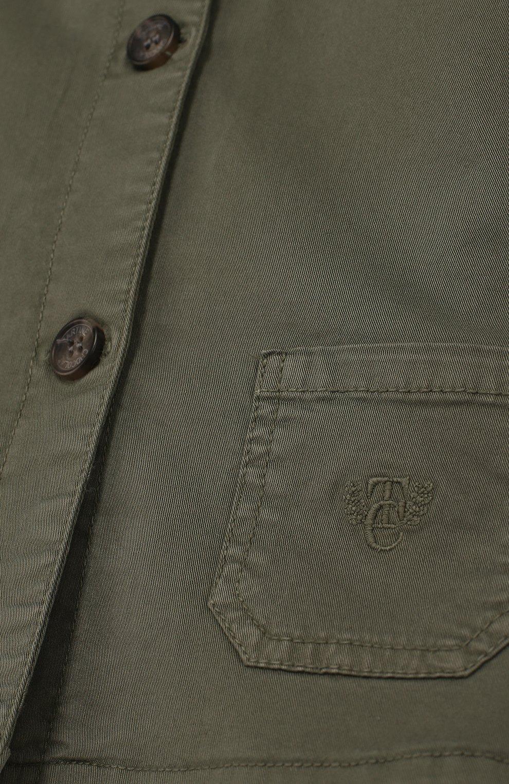 Детского хлопковая куртка на пуговицах TARTINE ET CHOCOLAT хаки цвета, арт. TL40001/4A-6A | Фото 3
