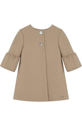 Детский пальто с расклешенными рукавами и круглым вырезом TARTINE ET CHOCOLAT бежевого цвета, арт. TL44002 | Фото 1