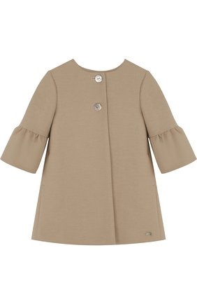 Пальто с расклешенными рукавами и круглым вырезом Tartine Et Chocolat бежевого цвета   Фото №1