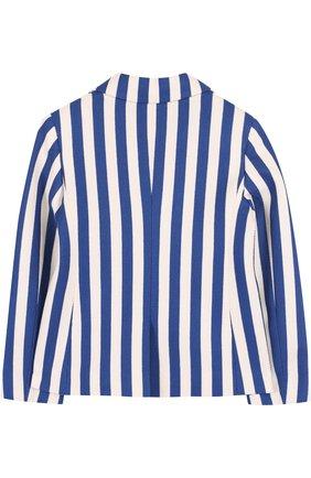 Детский однобортный пиджак из хлопка в полоску с нашивкой GUCCI синего цвета, арт. 499556/X9M24 | Фото 2
