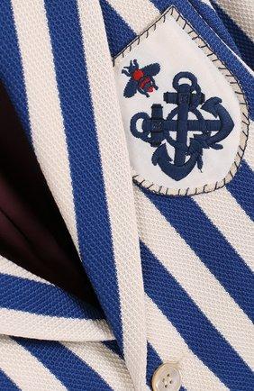 Детский однобортный пиджак из хлопка в полоску с нашивкой GUCCI синего цвета, арт. 499556/X9M24 | Фото 3
