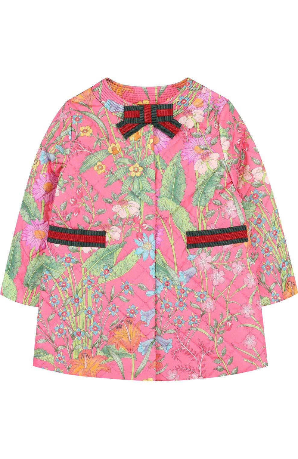 Детского стеганое пальто с контрастной отделкой и бантом GUCCI розового цвета, арт. 503731/XBD53 | Фото 1