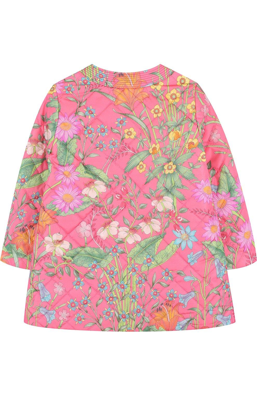 Детского стеганое пальто с контрастной отделкой и бантом GUCCI розового цвета, арт. 503731/XBD53 | Фото 2