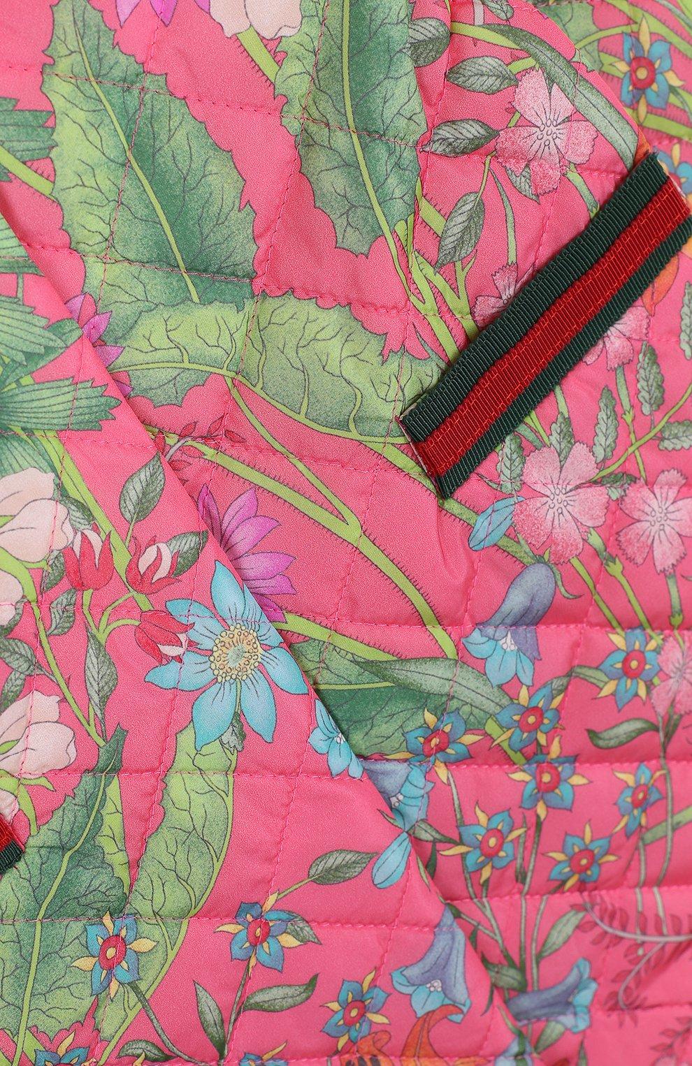 Детского стеганое пальто с контрастной отделкой и бантом GUCCI розового цвета, арт. 503731/XBD53 | Фото 3