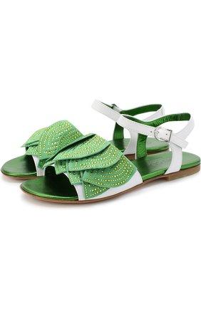 Кожаные сандалии на ремешке с декором и стразами   Фото №1
