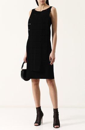 Приталенное однотонное платье-миди Tse черное | Фото №1