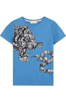 Детская хлопковая футболка с принтом GUCCI голубого цвета, арт. 498013/X3I64 | Фото 1