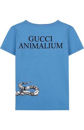 Детская хлопковая футболка с принтом GUCCI голубого цвета, арт. 498013/X3I64 | Фото 2