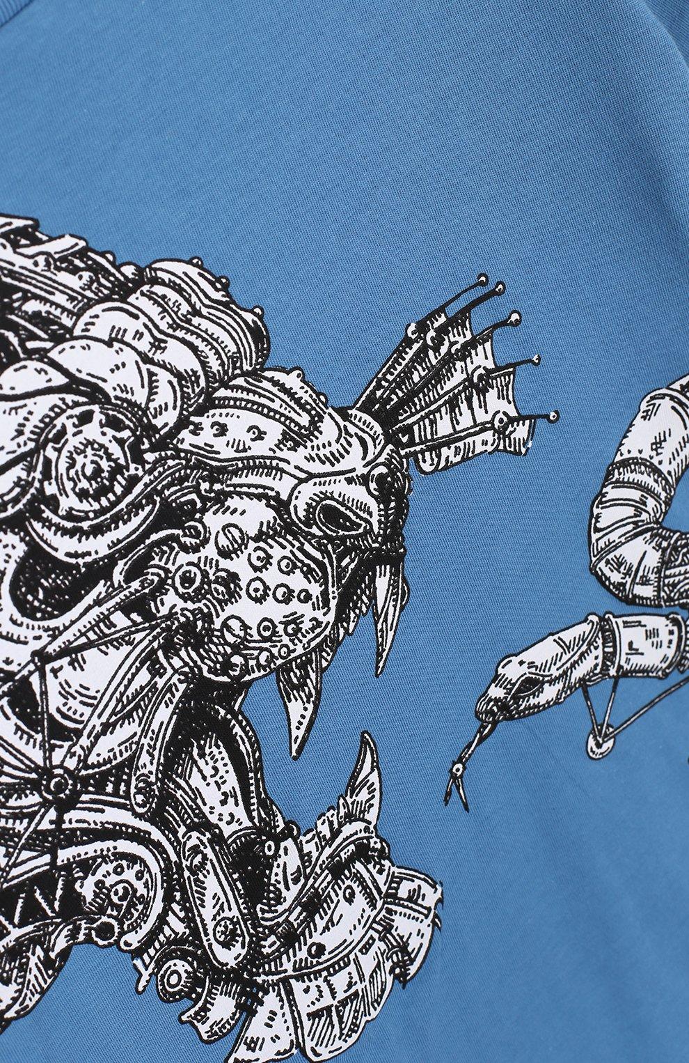 Детская хлопковая футболка с принтом GUCCI голубого цвета, арт. 498013/X3I64 | Фото 3