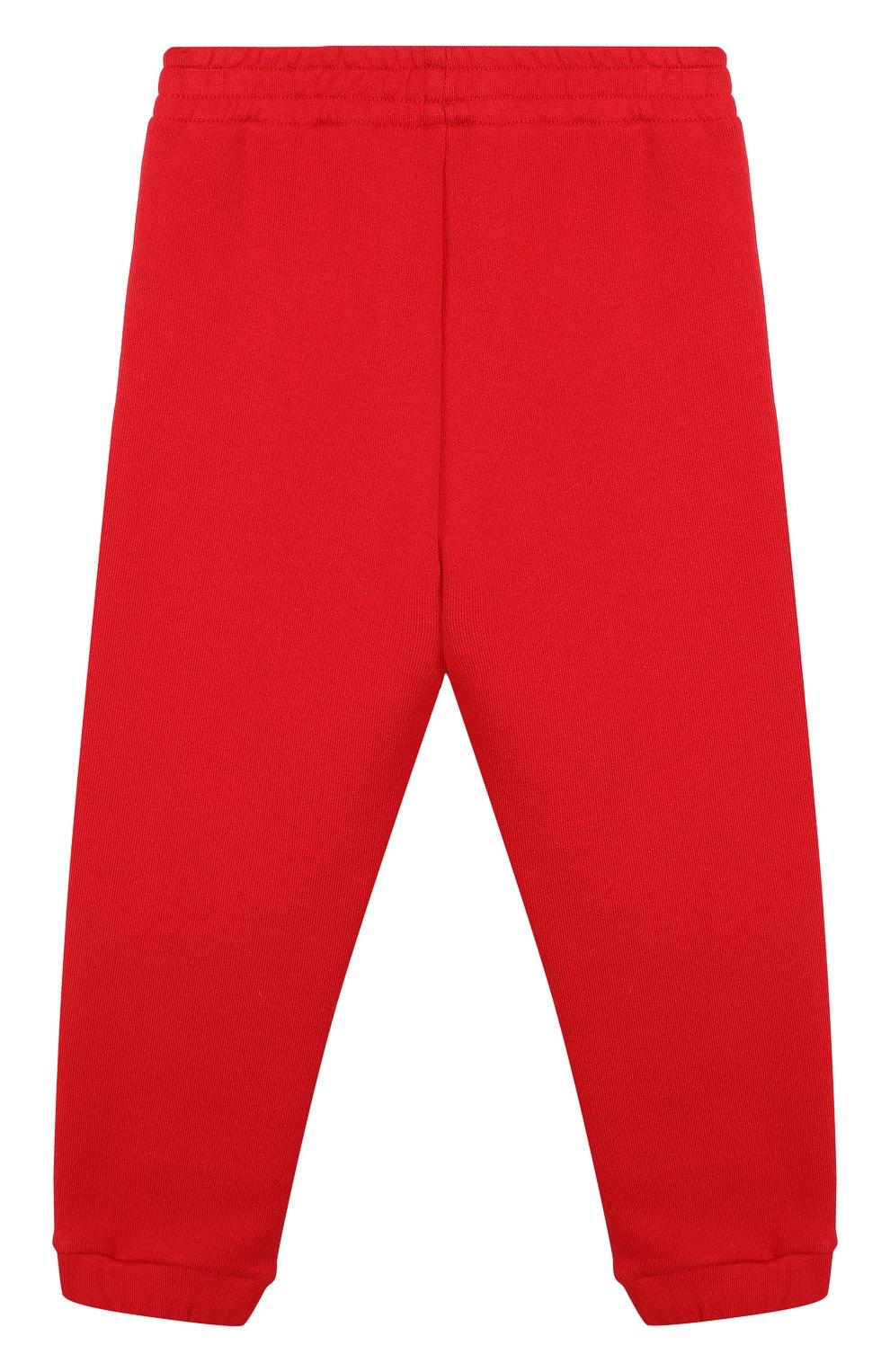 Хлопковые джоггеры с логотипом бренда Gucci красного цвета   Фото №2