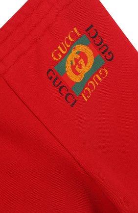 Хлопковые джоггеры с логотипом бренда Gucci красного цвета   Фото №3