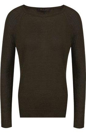 Однотонный пуловер из смеси льна и шелка | Фото №1