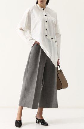 Укороченные шерстяные брюки со стрелками Natasha Zinko серые   Фото №1