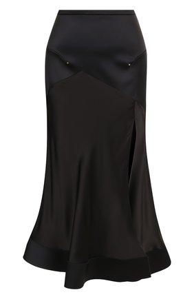 Однотонная расклешенная юбка с высоким разрезом | Фото №1