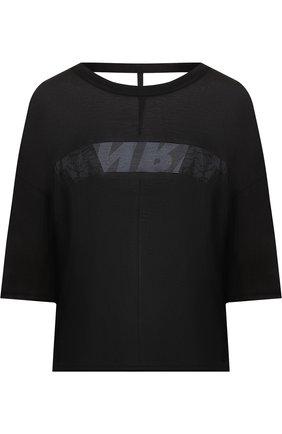 Шелковая футболка свободного кроя с открытой спиной Ben Taverniti Unravel Project черная | Фото №1