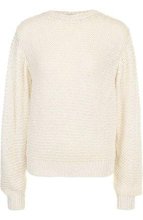 Пуловер фактурной вязки из смеси вискозы и хлопка