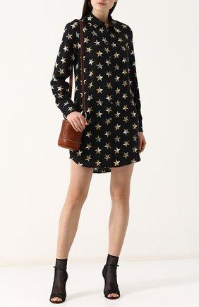 Шелковое мини-платье с принтом в виде звезд Equipment черное | Фото №1