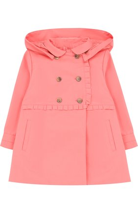 Детского двубортный плащ с капюшоном TARTINE ET CHOCOLAT розового цвета, арт. TL44011/2A-3A | Фото 1