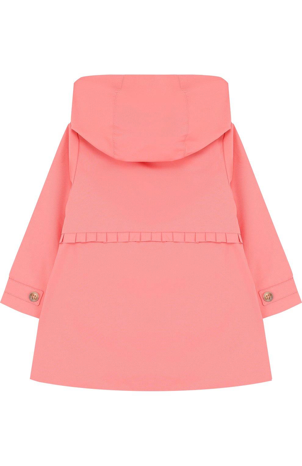 Детского двубортный плащ с капюшоном TARTINE ET CHOCOLAT розового цвета, арт. TL44011/2A-3A | Фото 2