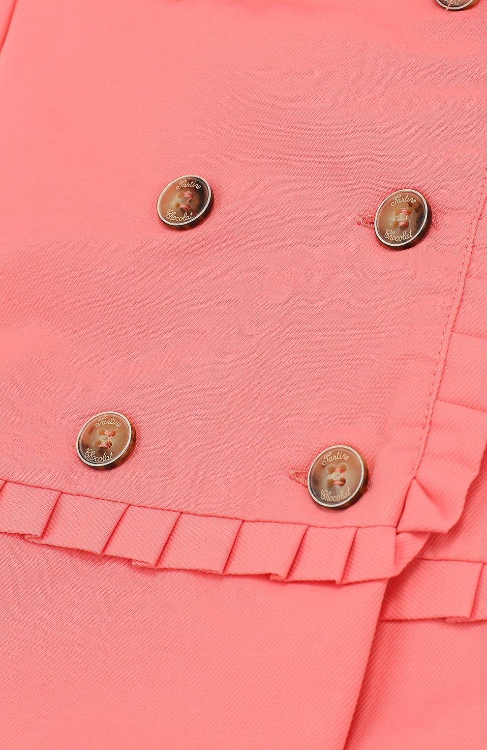 Детского двубортный плащ с капюшоном TARTINE ET CHOCOLAT розового цвета, арт. TL44011/2A-3A | Фото 3