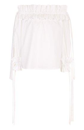 Хлопковая блуза с открытыми плечами и оборками | Фото №1