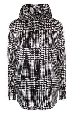 Шелковая блуза с капюшоном и принтом | Фото №1